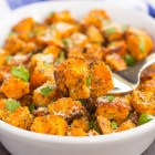 simple sweet potatoes in a bowl with a fork