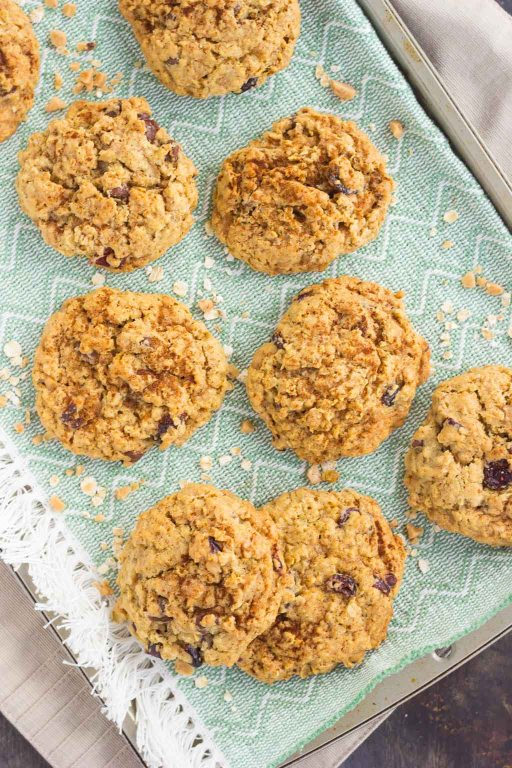 top down shot of spiced oatmeal cookies on a towel