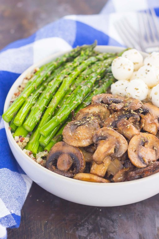 If you're looking for a new favorite recipe, this Asparagus and Mushroom Quinoa Bowl will become a regular in your meal rotation. Hearty quinoa is tossed in a white balsamic dressing and then topped with roasted asparagus and fresh mushrooms. Fast, fresh and flavorful, this easy meal makes a delicious lunch or dinner!