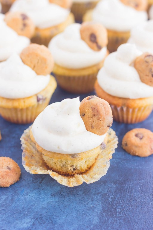 These Mini Chocolate Chip Cupcakes are studded with milk chocolate chips and topped with a sweet vanilla frosting. Light, fluffy, and bursting with flavor, these mini treats are perfect for chocolate chip lovers everywhere!