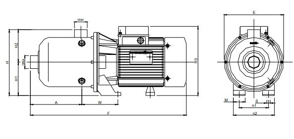 S R Stainless Steel Horizontal Multistage Close-coupled