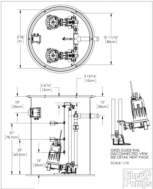liberty d3648 series duplex grinder package dimension
