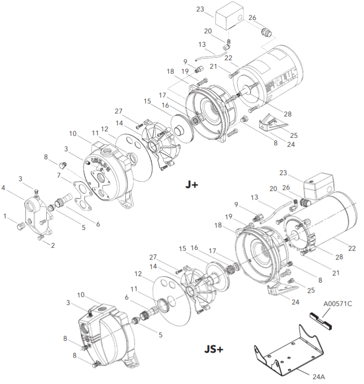 goulds jsseries shallow well jet pump repair parts breakdown