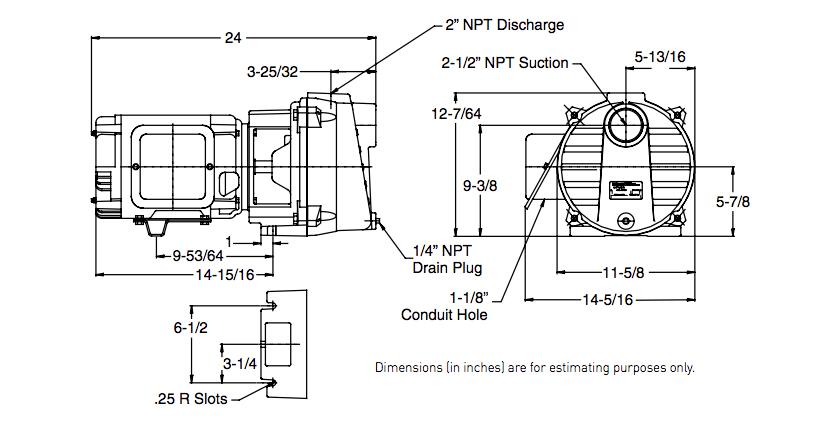 myers qp50b qp50b-3 series series pumps dimensions