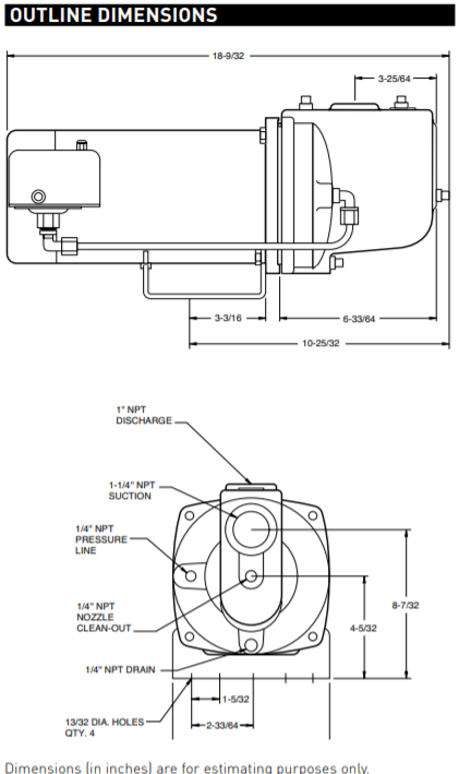 berkeley fh series shallow well jet pump Outline Dimensions