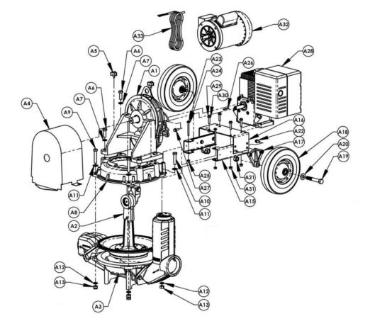 AMT 335H-96, Diaphragm Pump With Honda GX160 Engine, 5 HP