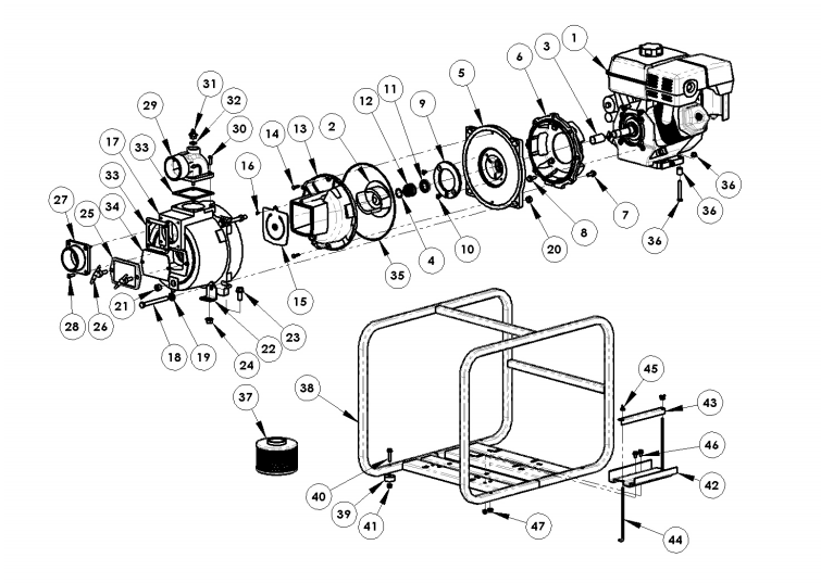 AMT 3941-96, Self-Priming Trash Pump With B&S Vanguard