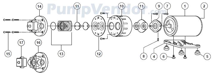 Flojet 02135-130 Parts List