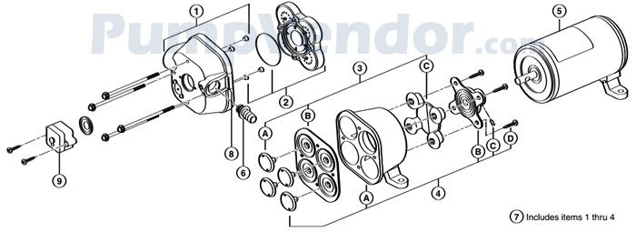 Flojet 02840-300 Parts List
