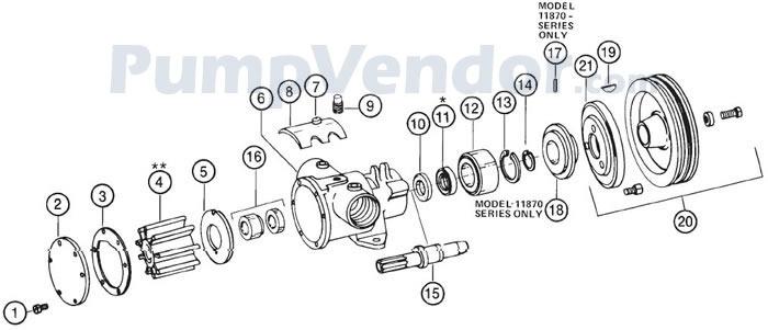 Jabsco 11870-0005 Parts List