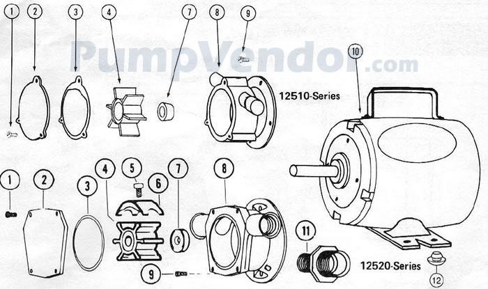 Jabsco 12520-0003 Parts List