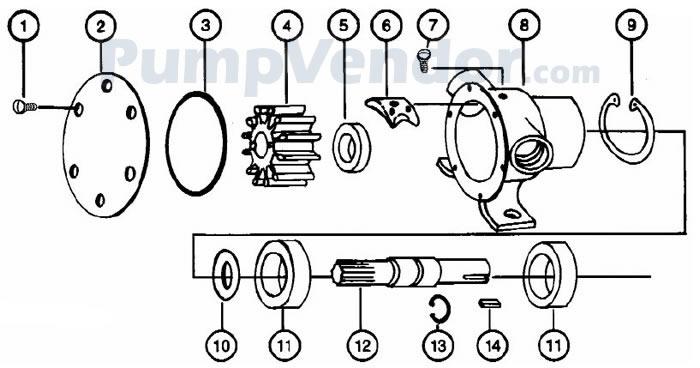 Jabsco 1673-1001 Parts List