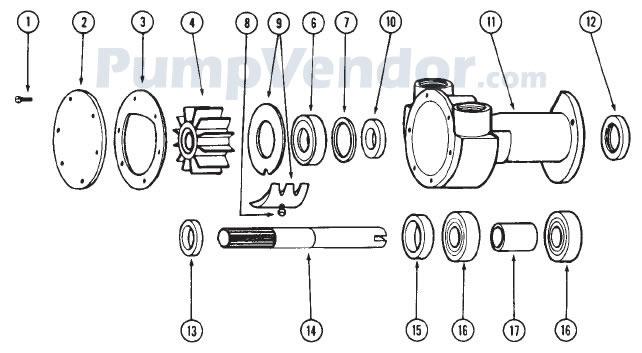 Jabsco 18400-0050 Parts List
