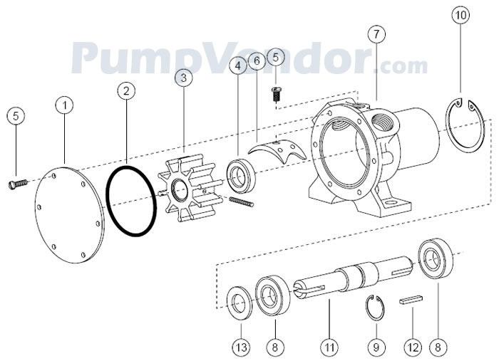 Jabsco 2620-1001 Parts List