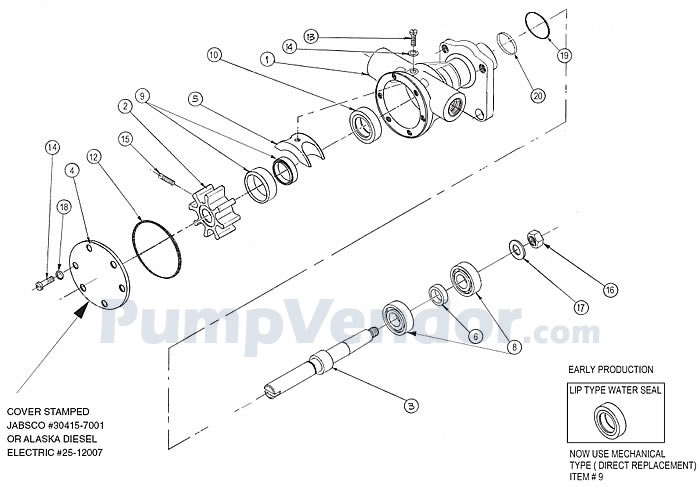 Jabsco 30415-7001 and Northern Lights 25-12007 Parts List