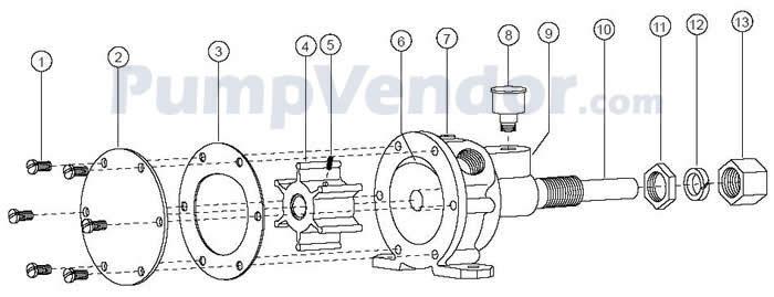 Jabsco 4530-0003 Parts List