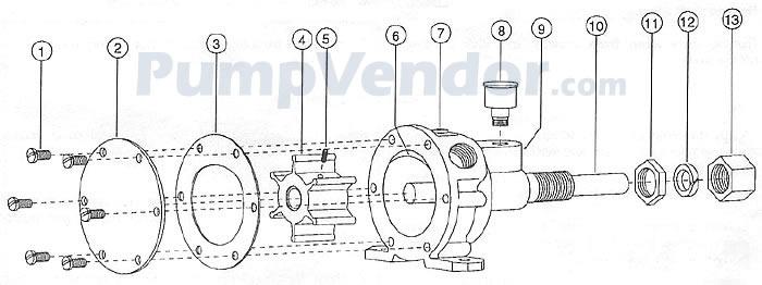 Jabsco 4540-0003 Parts List