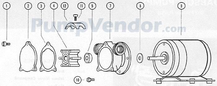 Jabsco 6350-0001 Parts List