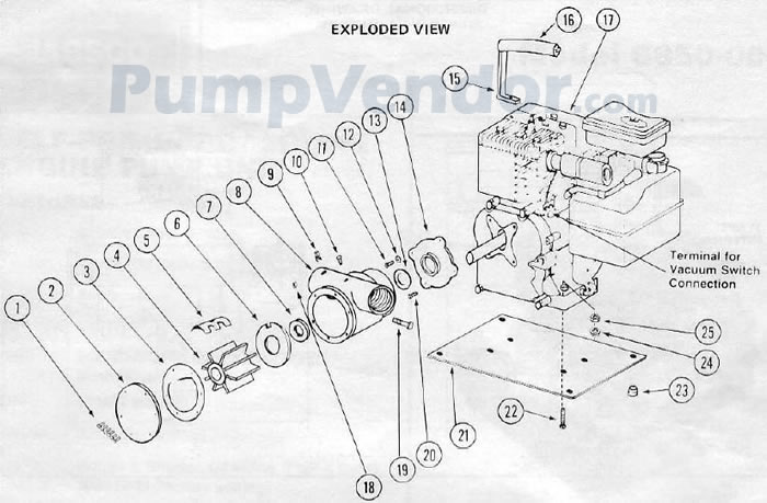 Jabsco 6850-0001 Parts List