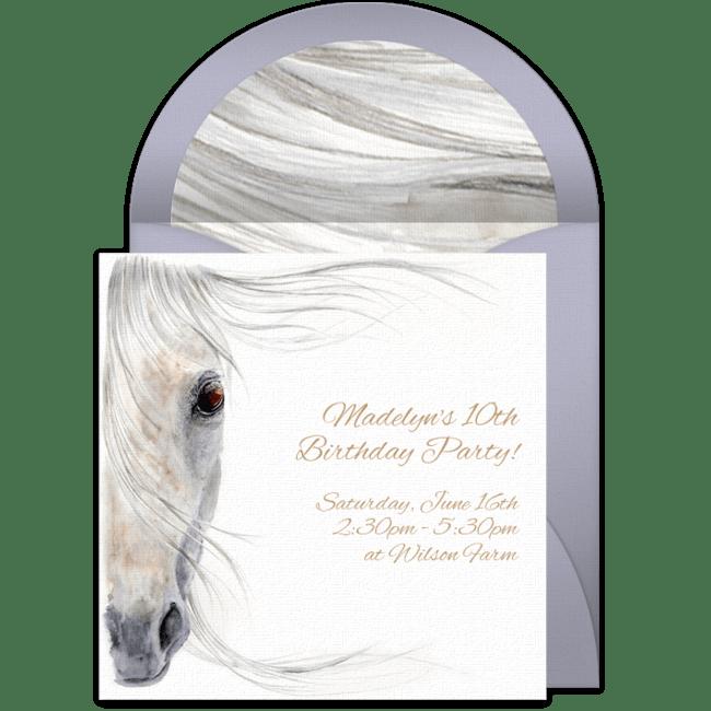 beautiful horse online invitation