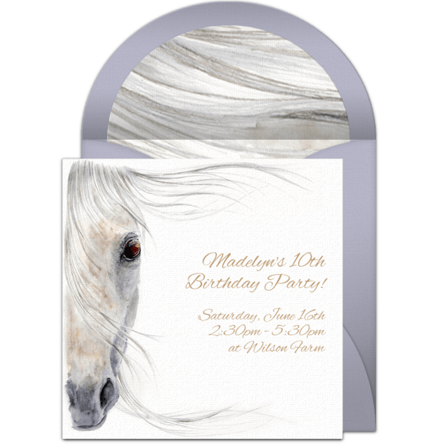 free beautiful horse online invitation