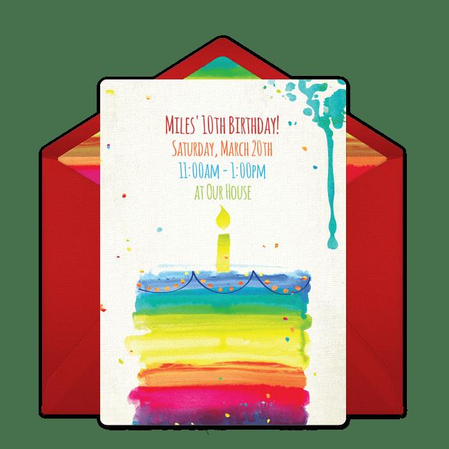 free rainbow birthday cake