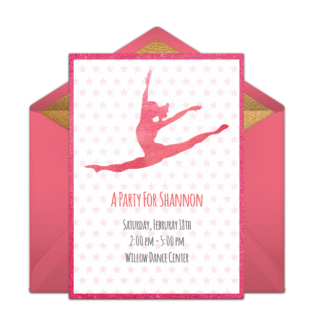 free gymnastics party online invitation