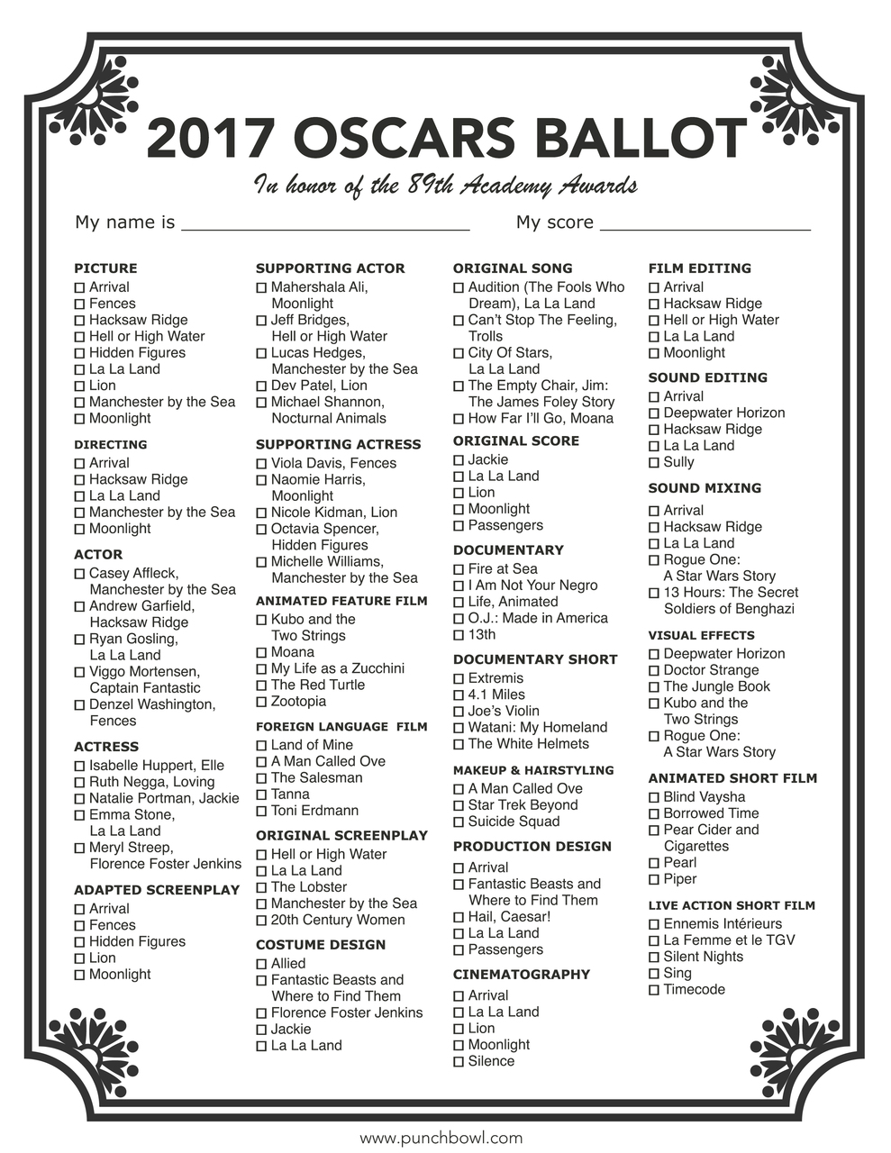 Printable Oscars Ballot
