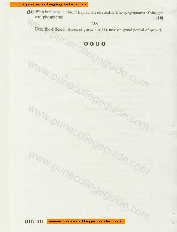 Botany: Plant Physiology Question Paper, Pune University