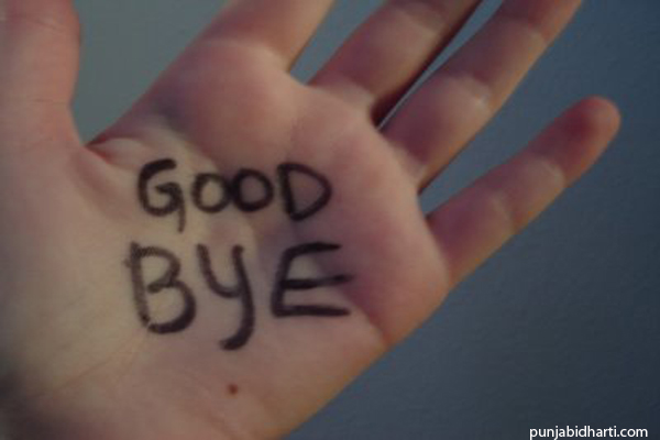 good bye on hand