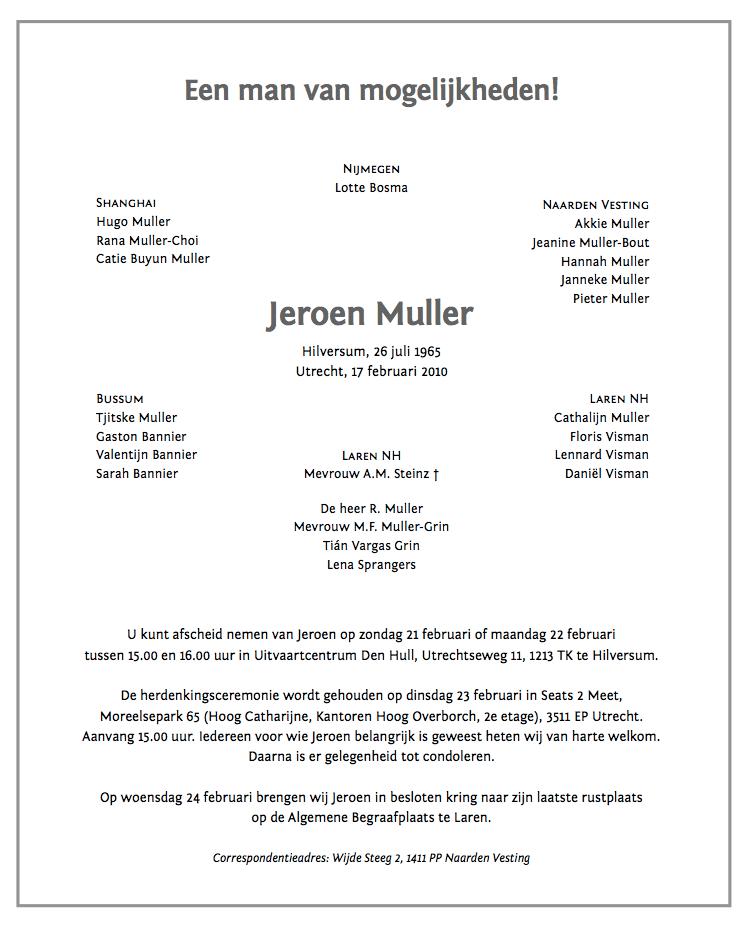 Jeroen Muller Overlijdenskaart