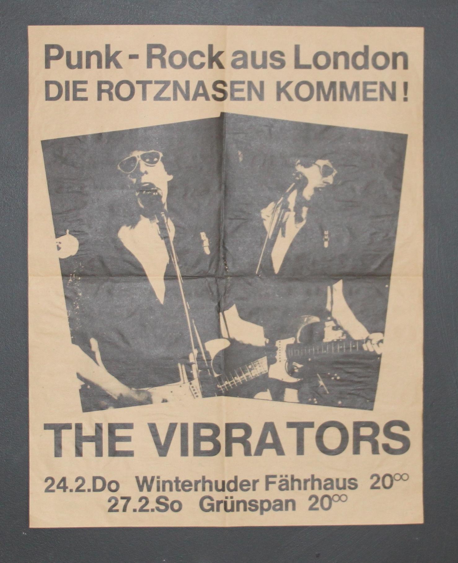 VIBRATORS FEB 77 GERMANY - punk rock posters