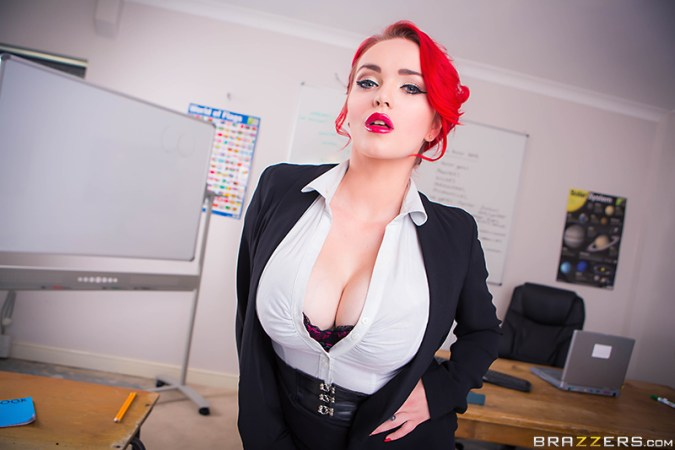 jasmine james testing the teacher busty british tattooed big tits redhead big dick pale brazzers