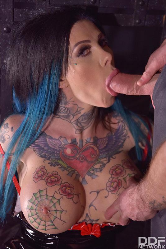 megan inky tattooed inked blowjob fake tits anal double cramming