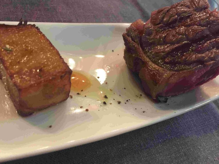Red Brick Bologna Controfiletto di bisonte, wafer di patate e agrodolce