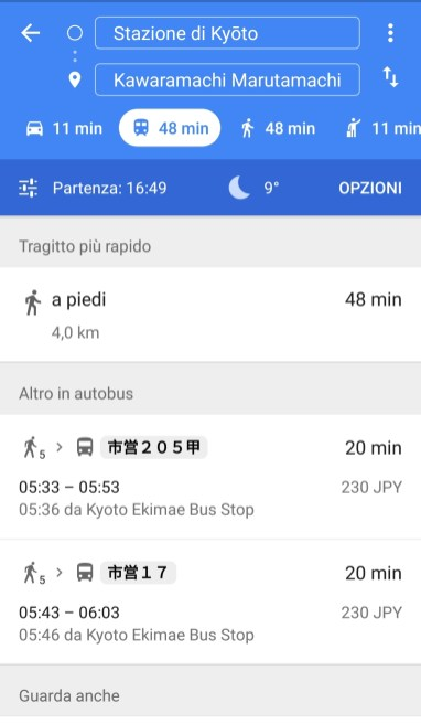 Autobus Kyoto, Google maps