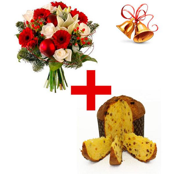 Spedizione a domicilio bouquet Natalizio con fiori rossi e bianchi con Panettone Natalizio online