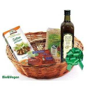 Consegna a domicilio cesto regalo con prodotti bio seitan quinoa olio extravergine di oliva e budini alla soya online