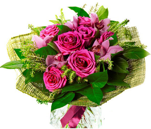 bouquet con rose fuchsia e orchidee
