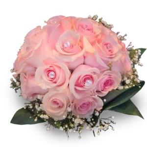 bouquet con rose rosa e punto luce su ogni bocciolo