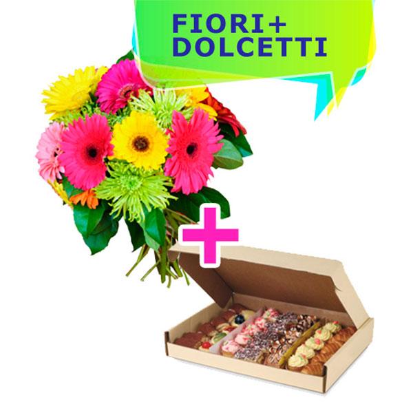 Consegna a domicilio bouquet con gerbere colorate e un vassoio di dolcetti misti online