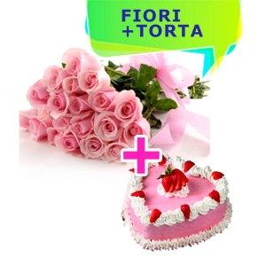 consegna a domicilio rose rosa e torta a forma di cuore con panna e fragole online
