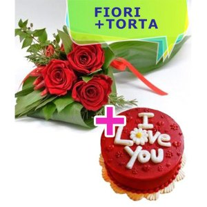 tre rose rosse con torta I Love You rossa