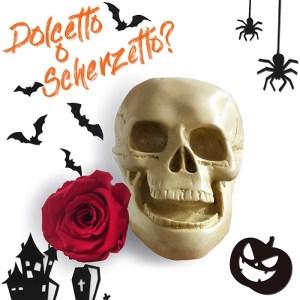 Consegna a domicilio regalo Halloween e rosa rossa stabilizzata online