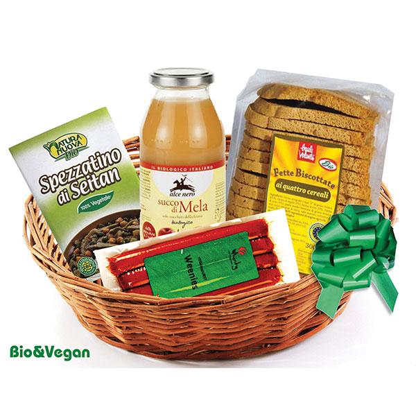 Consegna a domicilio cesto con prodotti bio online spezzatino di seitan succo di mela e fette biscottate