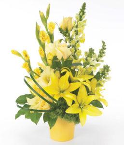 spedizione a domicilio di composizione di lilium gialli e lisianthus online