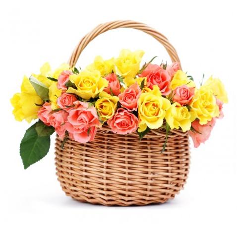 Cestino con rose arancio e rose gialle online