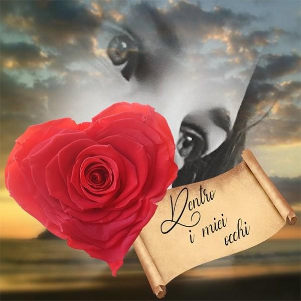 rosa stabilizzata a forma di cuore con poesia Dentro i tuoi occhi