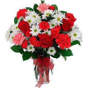 composizione con rose rosse, margherite bianche, garofanini rossi