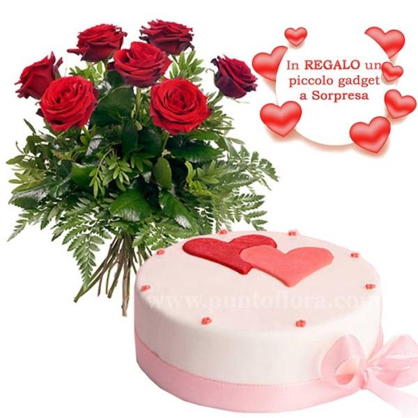 bouquet con 7 rose rosse e torta con glassa e cuori